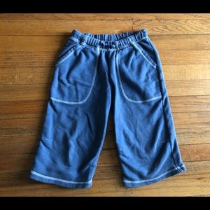 7-8 Mini Boden Blue White Boys Fave Sweat Shorts